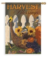 Autumn Harvest Cornucopia, Harvest Blessings Flag, Large