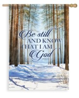 Inspirational Winter Trees, Be Still and Know Flag, Large