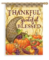 Cornucopia, Thankful Grateful Blessed Flag, Large