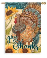 Sunflower Turkey, Give Thanks Flag, Large