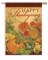 Thanksgiving Floral, Happy Thanksgiving Flag, Large