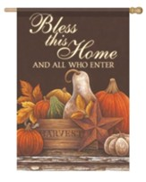 Harvest Still Life, Bless This Home Flag, Large