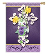 Happy Easter -Openwork Cross, Large Flag