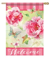 Welcome, Blushing Peonies, Flag, Large