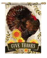 Give Thanks, Proud Turkey, Flag, Large
