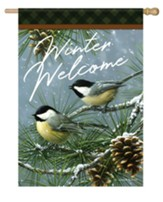 Winter Welcome, Chickadees and Pine, Flag, Large
