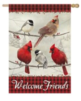 Welcome Friends, Cardinals, Flag, Large