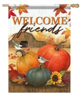 Welcome Friends, Pumpkins, Flag, Large