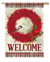 Winterberry Welcome Flag, Large