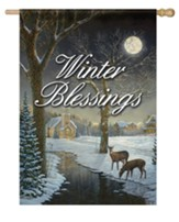 Winter Blessings, Deer, Flag, Large