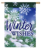 Winter Wishes, Snowflakes and Pine, Flag, Large