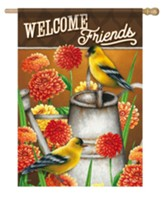 Welcome Friends, Goldfinch and Zinnias, Flag, Large