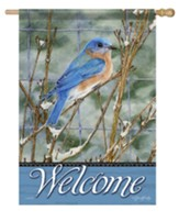 Welcome, Winter Bluebird, Flag, Large