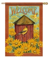 Welcome, Daisy and Birdhouse, Flag, Large