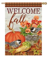 Welcome Fall, Pumpkin and Pansies, Flag, Large