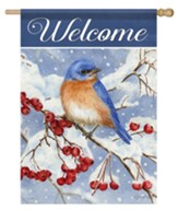 Welcome, Bluebird and Berries, Flag, Large