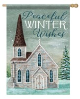 Peaceful Winter Wishes, Church, Flag, Large