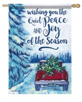 Wishing You the Quiet Peace and Joy of the Season, Red Truck, Flag, Large