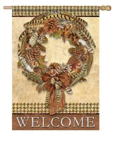 Welcome, Pheasant Wreath, Flag, Large