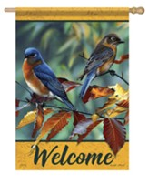 Welcome, Beech Leaf Birds, Flag, Large