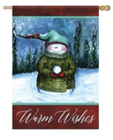 Warm Wishes, Snowman, Flag, Large