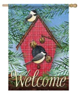 Welcome, Chickadees and Pine, Flag, Large
