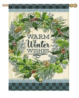 Warm Winter Wishes, Snowy Wreath, Flag, Large
