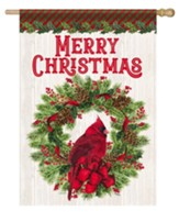 Merry Christmas, Cardinal and Wreath, Flag, Large
