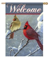 Welcome, Winter Cardinals, Flag, Large