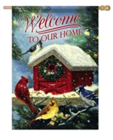 Welcome To Our Home, Christmas Songbirds, Flag, Large