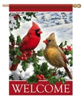 Welcome, Cardinals and Holly, Flag, Large