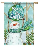 Peace on Earth, Snowman, Flag, Large