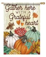 Gather Here With A Grateful Heart, Pumpkins, Flag, Large