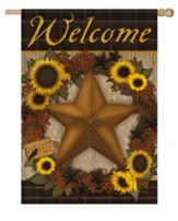 Welcome, Sunflower Harvest Wreath, Flag, Large