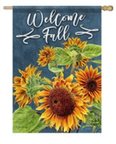 Welcome Fall, Beautiful Sunflowers, Flag, Large