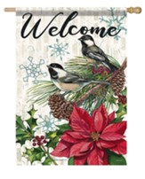Welcome, Pine and Poinsettias, Flag, Large