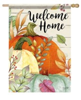Welcome Home, Watercolor Pumpkins, Flag, Large