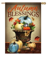 Autumn Blessings, Pumpkin Planter, Flag, Large