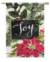 Joy, Vintage Greenery, Flag, Large