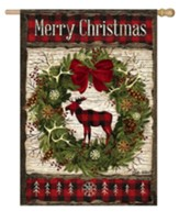 Merry Christmas, Woodland Wreath, Flag, Large