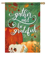 Gather and Be Grateful, Pumpkins, Flag, Large