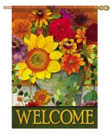 Welcome, Autumn Flower Bucket, Flag, Large