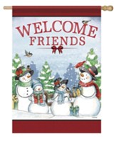 Welcome Friends, Snow Family, Flag, Large