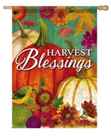 Harvest Blessings, Pumpkin, Flag, Large