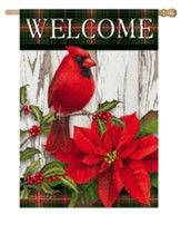 Welcome, Sweet Cardinal Christmas, Flag, Large