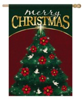 Merry Christmas, Peace Tree, Flag, Large