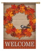 Welcome, Autumn Wreath, Flag, Large