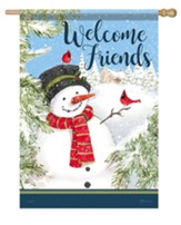 Welcome Friends, Cardinal Snowman, Flag, Large