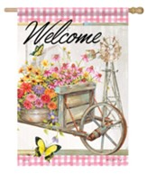 Welcome, Garden Wheelbarrow, Flag, Large