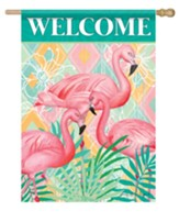 Welcome, Flamingos, Palms, Flag, Large